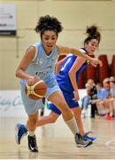 10 January 2015; Erica Cody Kennedy Smith, DCU Mercy, in action against Grainne Dwyer, Team Montenotte Hotel Cork. Basketball Ireland Women's National Cup, Semi-Final, Team Montenotte Hotel Cork v DCU Mercy, Neptune Stadium, Cork. Picture credit: Brendan Moran / SPORTSFILE