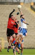 11 January 2015; Kevin McKernan and Peter Fitzpatrick, Down, in action against Neil McAdam, Monaghan. Bank of Ireland Dr McKenna Cup, Group A, Round 2, Monaghan v Down, St Tiernach's Park, Clones, Co. Monaghan. Picture credit: Oliver McVeigh / SPORTSFILE