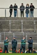11 January 2015; Temporary Kerry manager Darragh Ó Se, 2nd from right, with his management team, from left, John Shanahan, Ciarán McCabe and Seamus Moynihan look on during the game. McGrath Cup, Quarter-Final, Kerry v IT Tralee, Austin Stack Park, Tralee, Co. Kerry. Picture credit: Brendan Moran / SPORTSFILE