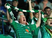 12 September 2007; A Republic of Ireland supporter cheers on his team before the start of the game. 2008 European Championship Qualifier, Czech Republic v Republic of Ireland, Sparta Prague Stadium, Prague, Czech Republic. Picture Credit: David Maher / SPORTSFILE *** Local Caption ***