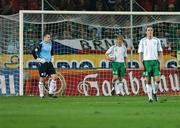 12 September 2007; Dejected Republic of Ireland players, Shay Given, Paul McShane and John O'Shea, look on after Marek Jankulovsk, Czech Republic, had scored his side's first goal. 2008 European Championship Qualifier, Czech Republic v Republic of Ireland, Sparta Prague Stadium, Prague, Czech Republic. Picture Credit: David Maher / SPORTSFILE *** Local Caption ***