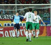 12 September 2007; Dejected Republic of Ireland players, Shay Given, Paul McShane and John O'Shea, look on after Marek Jankulovsk, Czech Republic, had scored his side's first goal. 2008 European Championship Qualifier, Czech Republic v Republic of Ireland, Sparta Prague Stadium, Prague, Czech Republic. Picture Credit: David Maher / SPORTSFILE