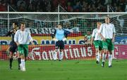 12 September 2007; Dejected Republic of Ireland goalkeeper Shay Given looks on after Marek Jankulovsk, Czech Republic, scored his side's first goal. 2008 European Championship Qualifier, Czech Republic v Republic of Ireland, Sparta Prague Stadium, Prague, Czech Republic. Picture Credit: David Maher / SPORTSFILE