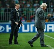 12 September 2007; Steve Staunton, Republic of Ireland manager, with Karel Bruckner, Czech Republic manager, during the game. 2008 European Championship Qualifier, Czech Republic v Republic of Ireland, Sparta Prague Stadium, Prague, Czech Republic. Picture Credit: David Maher / SPORTSFILE *** Local Caption ***