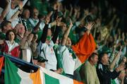 12 September 2007; Republic of Ireland supporters cheer on their side during the game. 2008 European Championship Qualifier, Czech Republic v Republic of Ireland, Sparta Prague Stadium, Prague, Czech Republic. Picture credit: David Maher / SPORTSFILE *** Local Caption ***