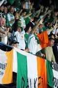 12 September 2007; Republic of Ireland supporters cheer on their side during the game. 2008 European Championship Qualifier, Czech Republic v Republic of Ireland, Sparta Prague Stadium, Prague, Czech Republic. Picture credit: David Maher / SPORTSFILE