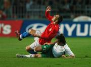 12 September 2007; Stephen Hunt, Republic of Ireland, tackles Jan Polak, Czech Republic, for which he was sent off by referee Kyros Vassaras. 2008 European Championship Qualifier, Czech Republic v Republic of Ireland, Sparta Prague Stadium, Prague, Czech Republic. Picture credit: David Maher / SPORTSFILE