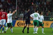 12 September 2007; Stephen Hunt, right, Republic of Ireland, is sent off by referee Kyros Vassaras. 2008 European Championship Qualifier, Czech Republic v Republic of Ireland, Sparta Prague Stadium, Prague, Czech Republic. Picture credit: David Maher / SPORTSFILE