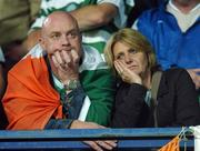 12 September 2007; Dejected Republic of Ireland supporters at the end of the game. 2008 European Championship Qualifier, Czech Republic v Republic of Ireland, Sparta Prague Stadium, Prague, Czech Republic. Picture credit: David Maher / SPORTSFILE *** Local Caption ***
