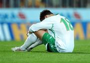 12 September 2007; A dejected Shane Long, Republic of Ireland, at the end of the game. 2008 European Championship Qualifier, Czech Republic v Republic of Ireland, Sparta Prague Stadium, Prague, Czech Republic. Picture Credit: David Maher / SPORTSFILE *** Local Caption ***