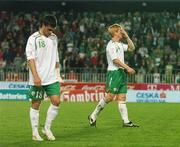 12 September 2007; Dejected Republic of Ireland players, Shane Long, left, and Paul McShane at the end of the game. 2008 European Championship Qualifier, Czech Republic v Republic of Ireland, Sparta Prague Stadium, Prague, Czech Republic. Picture Credit: David Maher / SPORTSFILE *** Local Caption ***
