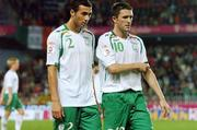 12 September 2007; Dejected Republic of Ireland players Stephen Kelly, left, and Robbie Keane at the end of the game. 2008 European Championship Qualifier, Czech Republic v Republic of Ireland, Sparta Prague Stadium, Prague, Czech Republic. Picture credit: David Maher / SPORTSFILE *** Local Caption ***