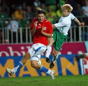 12 September 2007; Paul McShane, Republic of Ireland, attempts a last minute shot which was blocked by Radoslav Kovac, Czech Republic. 2008 European Championship Qualifier, Czech Republic v Republic of Ireland, Sparta Prague Stadium, Prague, Czech Republic. Picture credit: David Maher / SPORTSFILE