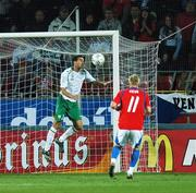 12 September 2007; Stephen Kelly, Republic of Ireland, clears from his goal line during the closing stages of the game. 2008 European Championship Qualifier, Czech Republic v Republic of Ireland, Sparta Prague Stadium, Prague, Czech Republic. Picture Credit: David Maher / SPORTSFILE