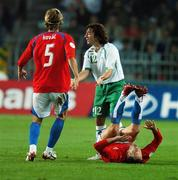 12 September 2007; Stephen Hunt, Republic of Ireland, pleads to the referee after his tackle on Jan Polak, right, Czech Republic, for which he was sent off by referee Kyros Vassaras. 2008 European Championship Qualifier, Czech Republic v Republic of Ireland, Sparta Prague Stadium, Prague, Czech Republic. Picture credit: David Maher / SPORTSFILE
