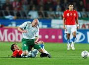 12 September 2007; Lee Carsley, Republic of Ireland, in action against Tomas Rosicky, Czech Republic. 2008 European Championship Qualifier, Czech Republic v Republic of Ireland, Sparta Prague Stadium, Prague, Czech Republic. Picture Credit: David Maher / SPORTSFILE