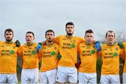 11 January 2015; Leitrim players, from left, Kevin Conlon, Danny Beck, Sean McWeeney, Damien Moran, Alan McLoughlin and Fergal Clancy, during the National Anthem ahead of the game. FBD League, Section A, Round 2, Leitrim v Galway, Mohill, Co. Leitrim. Picture credit: Ramsey Cardy / SPORTSFILE