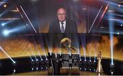 12 January 2015; FIFA President Sepp Blatter addresses the crowd ahead of the FIFA Ballon D'Or 2014. Kongresshaus, Zurich, Switzerland. Picture credit: David Maher / SPORTSFILE