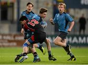 12 January 2015; Thomas West, Newpark Comprehensive, in action against Karl O'Connor, Wesley College. Wesley College v Newpark Comprehensive, Bank of Ireland Leinster Schools Fr. Godfrey Cup, 1st Round. Donnybrook Stadium, Donnybrook, Dublin. Picture credit: Piaras Ó Mídheach / SPORTSFILE