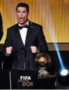 12 January 2015; Cristiano Ronaldo, Real Madrid and Portugal, celebrates after winning the FIFA Ballon d'Or. FIFA Ballon D'Or 2014. Kongresshaus, Zurich, Switzerland. Picture credit: David Maher / SPORTSFILE