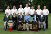 13 September 2007; The team and officials of Galway Golf Club, winners of the Bulmers Barton Shield, back row, left to right, Damien Glynn, Tom Nolan, Eddie McCormick, Damien Coyne, John Neary, Joe Lyons and David Scully, front row, left to right, Dennis McConnell, Captain, Shandon Park G.C.; Nicola McCleery, Marketing Manager, Managers; Barry Doyle, President Elect, Golfing Union of Ireland; Donal O'Sullivan, Team Captain, Galway G.C., John Whiriskey, Captain, Galway G.C., and Eugene Fayne, Chairman, Connacht Branch, Golfing Union of Ireland. Bulmers Barton Shield Final, Bulmers Cups and Shields Finals 2007, Shandon Park Golf Club, Belfast, Co. Antrim. Picture credit: Ray McManus / SPORTSFILE
