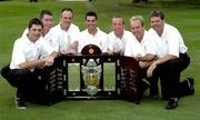 13 September 2007; The Galway Golf Club team, left to right, John Neary, Damien Coyne, Eddie McCormick, Damien Glynn, David Scully, Joe Lyons and Tom Nolan celebrate with the Bulmers Barton Shield after the Bulmers Barton Shield Final. Bulmers Cups and Shields Finals 2007, Shandon Park Golf Club, Belfast, Co. Antrim. Picture credit: Ray McManus / SPORTSFILE