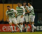 17 September 2007; Danny O'Connor, second from right, Shamrock Rovers, celebrates after scoring his side's first goal with team-mates, left to right, Dave Cassidy, Andy Myler, and Tadhg Purcell. eircom League of Ireland Premier Division, Bohemians v Shamrock Rovers, Dalymount Park, Dublin. Picture credit; David Maher / SPORTSFILE