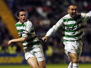 17 September 2007; Tadhg Purcell, left, Shamrock Rovers, turns to celebrate after scoring his side's second goal with team-mate Andy Myler. eircom League of Ireland Premier Division, Bohemians v Shamrock Rovers, Dalymount Park, Dublin. Picture credit; David Maher / SPORTSFILE