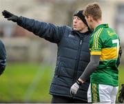 11 January 2015; Kerry selector Seamus Moynihan in conversation with Shane O'Connor, Kerry, before the game. McGrath Cup, Quarter-Final, Kerry v IT Tralee, Austin Stack Park, Tralee, Co. Kerry. Picture credit: Brendan Moran / SPORTSFILE