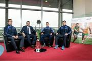 14 January 2015; The Gaelic Players Association's Annual Report for 2014 was launched today at the offices of PwC by Michael Ring, T.D., Minister of State for Sport and Tourism. In attendance at the launch were Armagh footballer Kevin Dyas, left,  Dessie Farrell, Chief Executive of the Gaelic Players Association, second from left, Kilkenny hurler Cillian Buckley and Limerick hurler Donal O'Grady, right. Launch of the GPA's Annual Report 2014. PwC, One Spencer Dock, North Wall Quay, Dublin. Picture credit: Barry Cregg / SPORTSFILE