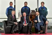 14 January 2015; The Gaelic Players Association's Annual Report for 2014 was launched today at the offices of PwC by Michael Ring, T.D., Minister of State for Sport and Tourism. In attendance at the launch were, back row, from left, Armagh footballer Kevin Dyas, Kilkenny hurler Cillian Buckley and Limerick hurler Donal O'Grady; front row, from left, Ard Stiúrthóir of the GAA Páraic Duffy, Michael Ring, T.D., Minister of State for Sport and Tourism, and Dessie Farrell, Chief Executive of the Gaelic Players Association. Launch of the GPA's Annual Report 2014. PwC, One Spencer Dock, North Wall Quay, Dublin. Picture credit: Barry Cregg / SPORTSFILE