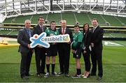 14 January 2015; The CARA National Adapted Physical Activity Centre in conjuction with the Department of Justice and Equality today launched the 'Xcessible Inclusive Youth Sport Initiative Special Schools Tag Rugby Programme' in conjunction with the IRFU. Pictured at the launch are Michael Gilroy, CARA, Aodhán Ó Ríordáin TD, Minister of State at the Department of Justice and Equality and Arts, Heritage and the Gaeltacht with special responsibility for Equality, New Communities and Culture, Craig Smith, Colaiste Eoin, Scott Walker, Domestic Rugby Manager IRFU, Kian Plunkett, Colaiste Eoin, Kate Feeney, CARA, and David Keane IRFU. Aviva Stadium, Lansdowne Road, Dublin. Picture credit: Pat Murphy / SPORTSFILE