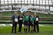 14 January 2015; The CARA National Adapted Physical Activity Centre in conjuction with the Department of Justice and Equality today launched the 'Xcessible Inclusive Youth Sport Initiative Special Schools Tag Rugby Programme' in conjunction with the IRFU. Pictured at the launch are, from left, Michael Gilroy, CARA, Joanne Cantwell, RTE Presenter and Xcessible Youth Sport Patron, Craig Smith, Colaiste Eoin, Aodhán Ó Ríordáin TD, Minister of State at the Department of Justice and Equality and Arts, Heritage and the Gaeltacht with special responsibility for Equality, New Communities and Culture, Kian Plunkett, Colaiste Eoin, and Scott Walker, Domestic Rugby Manager IRFU. Aviva Stadium, Lansdowne Road, Dublin. Picture credit: Pat Murphy / SPORTSFILE