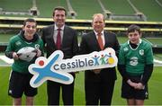 14 January 2015; The CARA National Adapted Physical Activity Centre in conjuction with the Department of Justice and Equality today launched the 'Xcessible Inclusive Youth Sport Initiative Special Schools Tag Rugby Programme' in conjunction with the IRFU. Pictured at the launch are, from left, Niall O'Flynn, RTE, Michael Gilroy, CARA, Joanne Cantwell, RTE Presenter and Xcessible Youth Sport Patron, Aodhán Ó Ríordáin TD, Minister of State at the Department of Justice and Equality and Arts, Heritage and the Gaeltacht with special responsibility for Equality, New Communities and Culture, and Kate Feeney, CARA. Aviva Stadium, Lansdowne Road, Dublin. Picture credit: Pat Murphy / SPORTSFILE