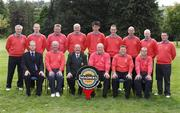 14 September 2007; The team and officials of Scrabo Golf Club, Co. Down, back row, left to right, David Thompson, Mark Johnston, Colin Morrison, Nigel Carson, Ross Henderson, Tim Bailie, Glen Thompson and Jamie McCune, front row, left to right, Alan Andrews, Magners, Bill Fulton, Vice-Captain, Stephen Tew, Captain, David Graham, Team Captain and Trevor Devlin, before the Magners Jimmy Bruen Shield Semi-Finals. Magners Cups and Shields Finals 2007, Shandon Park Golf Club, Belfast, Co. Antrim. Picture credit: Ray McManus / SPORTSFILE