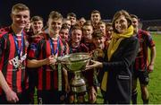 1 November 2017; Bohemians captain Paddy Kirk is presented with the Dr Tony O'Neill perpetual trophy by Ruth Ryan, SSE Airtricity, after the SSE Airtricity National Under 19 League Final match between Bohemians and St Patrick's Athletic at Dalymount Park in Dublin. Photo by Piaras Ó Mídheach/Sportsfile