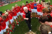 23 September 2007; Cork coach Eamonn Ryan speaks to the players before the match. TG4 All-Ireland Ladies Senior Football Championship Final, Cork v Mayo, Croke Park, Dublin. Picture credit; Brian Lawless / SPORTSFILE