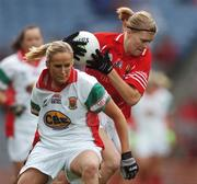 23 September 2007; Deirdre O'Reilly, Cork, in action against Sharon McGing, Mayo. TG4 All-Ireland Ladies Senior Football Championship Final, Cork v Mayo, Croke Park, Dublin. Picture credit; Brian Lawless / SPORTSFILE