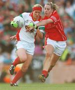 23 September 2007; Fiona McHale, Mayo, in action against Marcella Heffernan, Cork. TG4 All-Ireland Ladies Senior Football Championship Final, Cork v Mayo, Croke Park, Dublin. Picture credit; Brian Lawless / SPORTSFILE