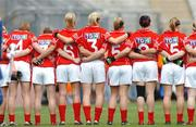 23 September 2007; Members of the Cork team line up for the National Anthem.TG4 All-Ireland Ladies Senior Football Championship Final, Cork v Mayo, Croke Park, Dublin. Picture credit; Paul Mohan / SPORTSFILE
