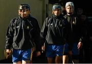 18 January 2015; Clare captain Patrick Donnellan, left, followed by Brendan Bugler and Conor Cleary, right, leads his team out for their pre-match warm-up. Waterford Crystal Cup, Quarter-Final, Clare v Tipperary, O'Garney Park, Sixmilebridge, Co. Clare. Picture credit: Diarmuid Greene / SPORTSFILE