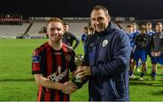 1 November 2017; Man of the Match, Jamie Hamilton of Bohemians is presented with his award by Republic of Ireland U19 manager Tom Mohan after the SSE Airtricity National Under 19 League Final match between Bohemians and St Patrick's Athletic at Dalymount Park in Dublin. Photo by Piaras Ó Mídheach/Sportsfile