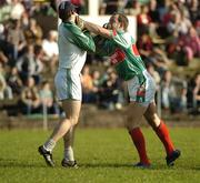 30 September 2007; David Brady, Ballina Stephenites, right, and John Casey, Charlestown, tussel off the ball. Mayo Senior Football Championship Final, Ballina Stephenites v Charlestown, McHale Park, Castlebar, Co. Mayo. Picture credit; Stephen McCarthy / SPORTSFILE