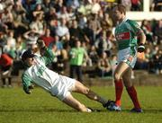 30 September 2007; John Casey, Charlestown, left, falls to the ground after an off the ball tussel with David Brady, Ballina Stephenites. Mayo Senior Football Championship Final, Ballina Stephenites v Charlestown, McHale Park, Castlebar, Co. Mayo. Picture credit; Stephen McCarthy / SPORTSFILE