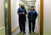 20 January 2015; Dublin manager Ger Cunningham, left, speaking with Patsy Kiernan, caretaker of Parnell Park, ahead of the game. Bord na Mona Walsh Cup, Group 2, Round 2, Dublin v DIT, Parnell Park, Dublin. Picture credit: Barry Cregg / SPORTSFILE