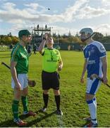 21 October 2017; Referee John Keane peforms the coin toss with captains, Seán Finn of Ireland and Arron MacPhee of Scotland before the U21 Shinty International match between Ireland and Scotland at Bught Park in Inverness, Scotland. Photo by Piaras Ó Mídheach/Sportsfile