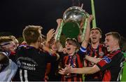 1 November 2017; Bohemians captain Paddy Kirk lifts the Dr Tony O'Neill perpetual trophy after the SSE Airtricity National Under 19 League Final match between Bohemians and St Patrick's Athletic at Dalymount Park in Dublin. Photo by Piaras Ó Mídheach/Sportsfile