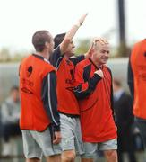 9 October 2007; Republic of Ireland's Robbie Keane taps his team-mate Lee Carsley on his head during squad training. Gannon Park, Malahide, Co. Dublin. Picture credit; David Maher / SPORTSFILE