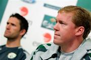 12 October 2007; Republic of Ireland manager Steve Staunton with captain Robbie Keane during a press conference. Croke Park, Dublin. Picture credit; David Maher / SPORTSFILE