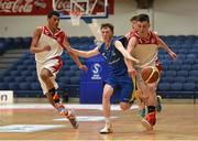 25 January 2015; Owen Connolly, Fr Matthews, in action against Gavin O'Dea, St. Vincent's. Basketball Ireland U-18 Men's National Cup Final, St. Vincent's v Fr Matthews. National Basketball Arena, Tallaght, Dublin. Picture credit: Paul Mohan / SPORTSFILE